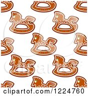 Clipart Of A Seamless Background Pattern Of Rocking Horse Shaped Christmas Gingerbread Cookies Royalty Free Vector Illustration by Vector Tradition SM