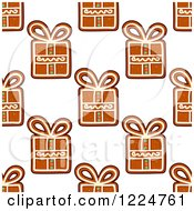 Clipart Of A Seamless Background Pattern Of Gift Shaped Christmas Gingerbread Cookies Royalty Free Vector Illustration by Vector Tradition SM