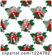 Clipart Of A Seamless Christmas Pattern Of Candy Canes And Holly 2 Royalty Free Vector Illustration by Vector Tradition SM