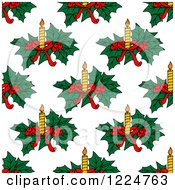 Clipart Of A Seamless Christmas Pattern Of Candles And Holly Royalty Free Vector Illustration