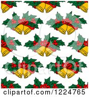 Clipart Of A Seamless Christmas Pattern Of Christmas Bells And Holly Royalty Free Vector Illustration