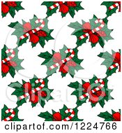 Clipart Of A Seamless Christmas Pattern Of Candy Canes And Holly Royalty Free Vector Illustration