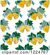 Clipart Of A Seamless Christmas Pattern Of Christmas Bells And Holly 2 Royalty Free Vector Illustration