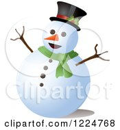 Clipart Of A Happy Snowman With A Top Hat And Scarf Royalty Free Vector Illustration by Pams Clipart