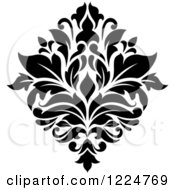 Clipart Of A Black And White Floral Damask Design 32 Royalty Free Vector Illustration