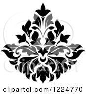 Clipart Of A Black And White Floral Damask Design 33 Royalty Free Vector Illustration