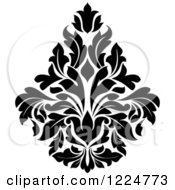 Clipart Of A Black And White Floral Damask Design 31 Royalty Free Vector Illustration