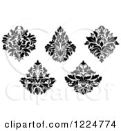 Clipart Of Black And White Floral Damask Designs 6 Royalty Free Vector Illustration