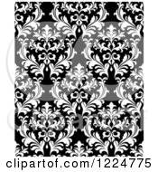 Clipart Of A Seamless Pattern Of Damask In Black And White 3 Royalty Free Vector Illustration