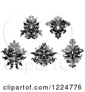 Clipart Of Black And White Floral Damask Designs 7 Royalty Free Vector Illustration