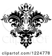 Clipart Of A Black And White Floral Damask Design 26 Royalty Free Vector Illustration