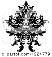Clipart Of A Black And White Floral Damask Design 27 Royalty Free Vector Illustration