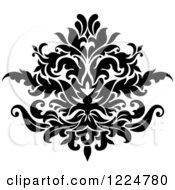 Clipart Of A Black And White Floral Damask Design 28 Royalty Free Vector Illustration