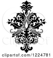 Clipart Of A Black And White Floral Damask Design 29 Royalty Free Vector Illustration