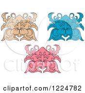 Clipart Of Tan Blue And Pink Floral Damask Designs Royalty Free Vector Illustration