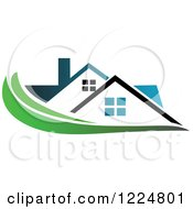 Clipart Of A Blue Roofed House With A Green Swoosh Royalty Free Vector Illustration