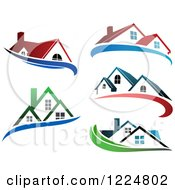 Clipart Of Houses With Blue Swooshes Royalty Free Vector Illustration