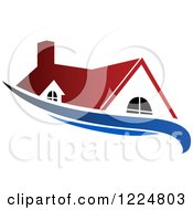 Clipart Of A Red Roofed House With A Blue Swoosh Royalty Free Vector Illustration