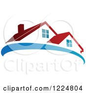 Clipart Of A Red Roofed House With A Blue Swoosh 2 Royalty Free Vector Illustration