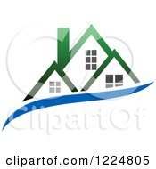 Clipart Of A Green Roofed House With A Blue Swoosh Royalty Free Vector Illustration