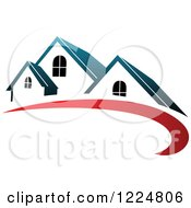 Clipart Of A Blue Roofed House With A Red Swoosh Royalty Free Vector Illustration