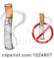 Clipart Of Angry Cigarette Characters Royalty Free Vector Illustration
