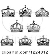 Clipart Of Black And White Crowns 7 Royalty Free Vector Illustration