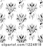 Clipart Of A Seamless Background Pattern Of Black And White Paisley Flowers Royalty Free Vector Illustration