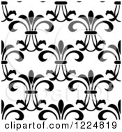 Clipart Of A Seamless Background Pattern Of Vintage Floral Scrolls Royalty Free Vector Illustration