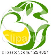 Clipart Of A Green Tea Pot With Leaves Royalty Free Vector Illustration