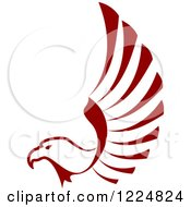 Clipart Of A Maroon Eagle Lifting Its Wing Royalty Free Vector Illustration
