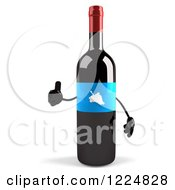 Clipart Of A 3d Wine Bottle Mascot With A Blue Grape Label Holding A Thumb Up Royalty Free Illustration
