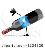 Clipart Of A 3d Wine Bottle Mascot With A Blue Grape Label Doing A Hand Stand 2 Royalty Free Illustration