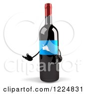 Clipart Of A 3d Presenting Wine Bottle Mascot With A Blue Grape Label Royalty Free Illustration