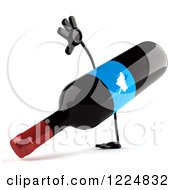 Clipart Of A 3d Wine Bottle Mascot With A Blue Grape Label Doing A Hand Stand Royalty Free Illustration