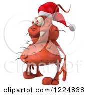 Clipart Of A 3d Red Christmas Germ Wearing A Santa Hat And Facing Right Royalty Free Illustration
