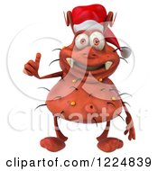 Clipart Of A 3d Red Christmas Germ Wearing A Santa Hat And Holding A Thumb Up Royalty Free Illustration