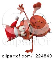 Clipart Of A 3d Red Christmas Germ Wearing A Santa Hat And Doing A Hand Stand Royalty Free Illustration