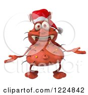 Clipart Of A 3d Red Christmas Germ Wearing A Santa Hat And Shrugging Royalty Free Illustration