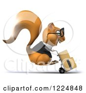 Clipart Of A 3d Business Squirrel Wearing Glasses And Moving Boxes On A Dolly Royalty Free Illustration