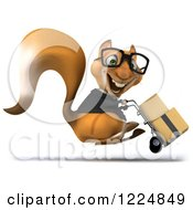 Clipart Of A 3d Business Squirrel Wearing Glasses And Moving Boxes On A Dolly 2 Royalty Free Illustration