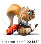 Clipart Of A 3d Traveling Business Squirrel Wearing Glasses And Walking With Luggage Royalty Free Illustration