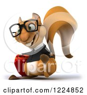 Clipart Of A 3d Traveling Business Squirrel Wearing Glasses And Walking With Luggage 3 Royalty Free Illustration