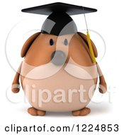 Clipart Of A 3d Chubby Graduate Dog Royalty Free Illustration