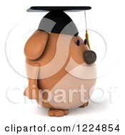 Clipart Of A 3d Chubby Graduate Dog Facing Right Royalty Free Illustration