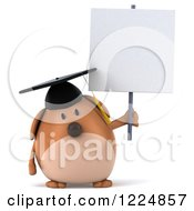 Clipart Of A 3d Chubby Graduate Dog Holding A Sign Royalty Free Illustration