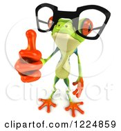 Clipart Of A 3d Argie Frog Wearing Glasses And Holding A Thumb Up Royalty Free Illustration