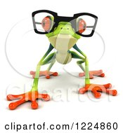 Clipart Of A 3d Argie Frog Wearing Glasses And Crouching Royalty Free Illustration