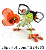 Clipart Of A 3d Argie Frog Wearing Glasses And Pointing Outwards Royalty Free Illustration