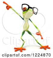 Clipart Of A 3d Argie Frog Wearing Glasses And Dancing Royalty Free Illustration